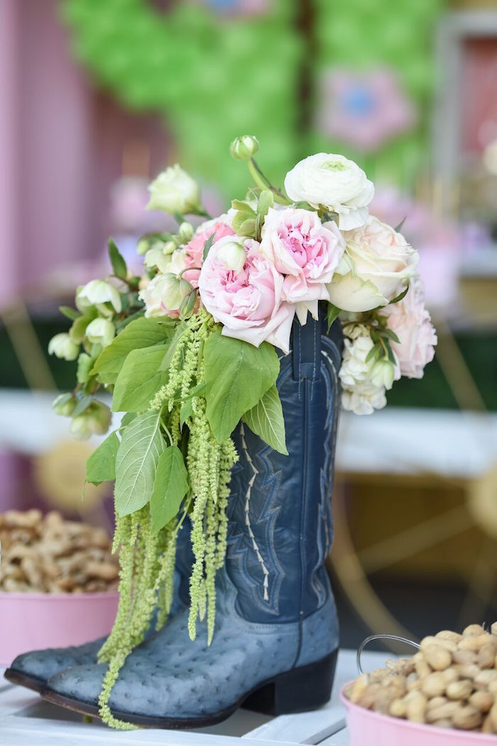 Boot floral arrangement from a Shabby Chic Cowgirl Birthday Party on Kara's Party Ideas | KarasPartyIdeas.com (27)