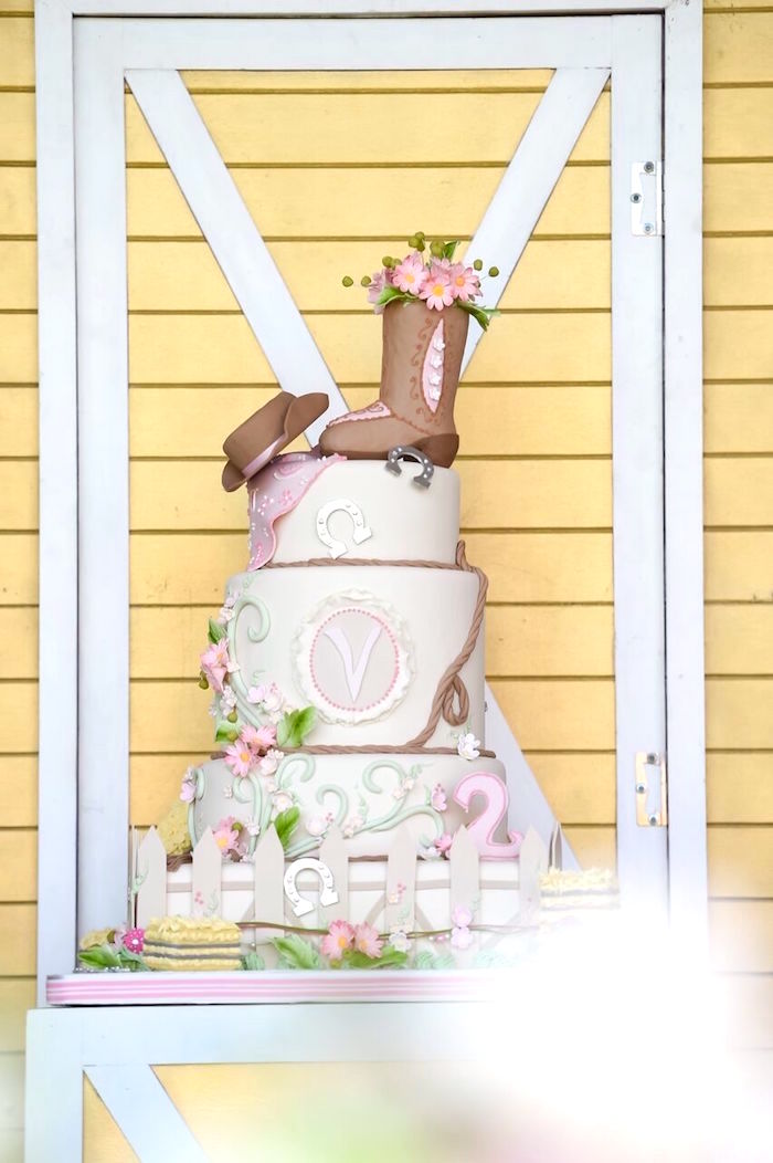 Cowgirl birthday cake from a Shabby Chic Cowgirl Birthday Party on Kara's Party Ideas | KarasPartyIdeas.com (26)