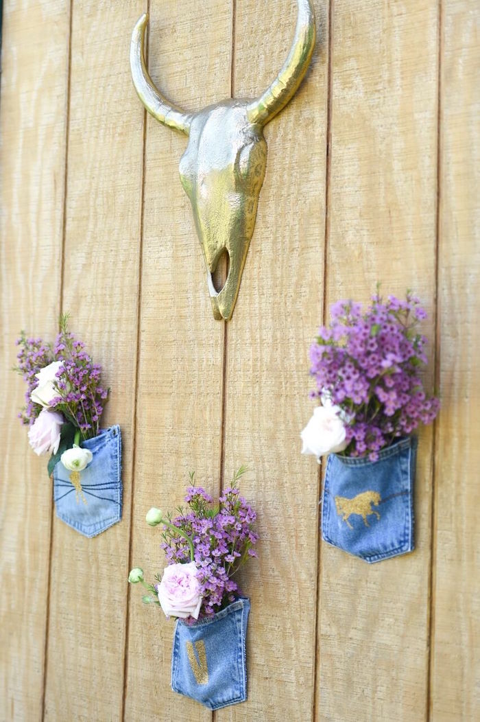 Denim pocket flower arrangements + backdrop from a Shabby Chic Cowgirl Birthday Party on Kara's Party Ideas | KarasPartyIdeas.com (25)