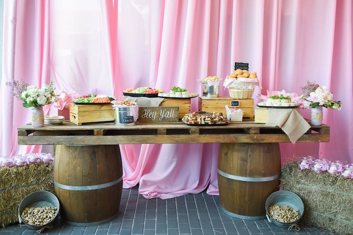 Food table from a Shabby Chic Cowgirl Birthday Party on Kara's Party Ideas | KarasPartyIdeas.com (20)