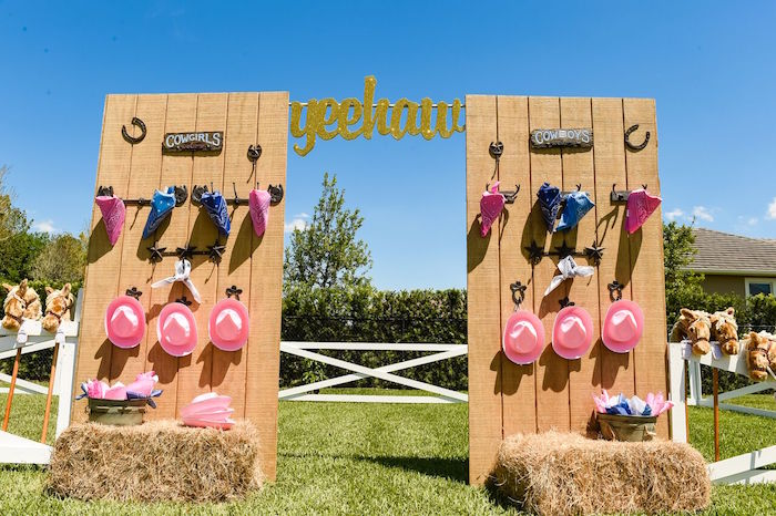 Corral wall from a Shabby Chic Cowgirl Birthday Party on Kara's Party Ideas | KarasPartyIdeas.com (45)