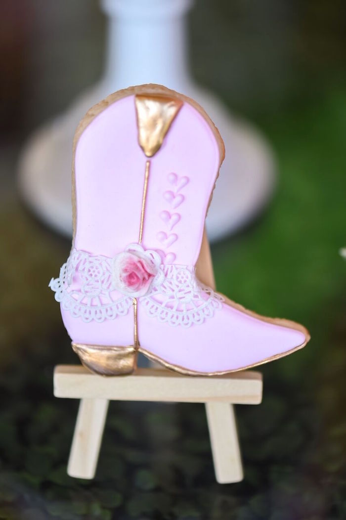 Cowgirl boot cookie from a Shabby Chic Cowgirl Birthday Party on Kara's Party Ideas | KarasPartyIdeas.com (13)