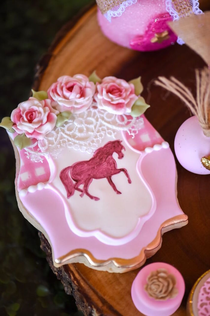 Sugar cookie from a Shabby Chic Cowgirl Birthday Party on Kara's Party Ideas | KarasPartyIdeas.com (12)