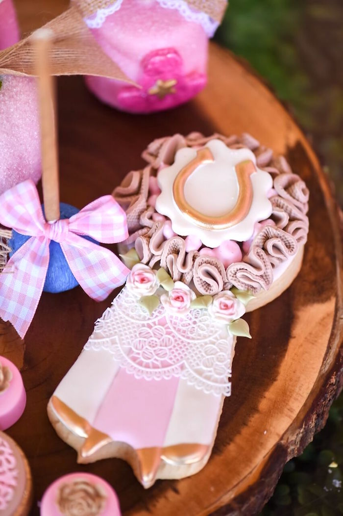 Lace ribbon cookie from a Shabby Chic Cowgirl Birthday Party on Kara's Party Ideas | KarasPartyIdeas.com (11)