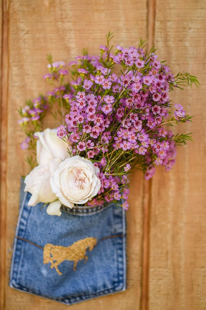 Jean pocket floral arrangement from a Shabby Chic Cowgirl Birthday Party on Kara's Party Ideas | KarasPartyIdeas.com (6)