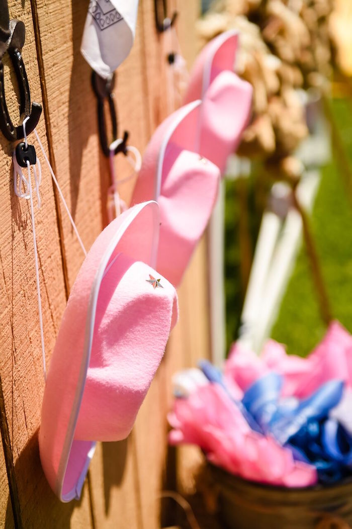 Cowgirl hats from a Shabby Chic Cowgirl Birthday Party on Kara's Party Ideas | KarasPartyIdeas.com (43)