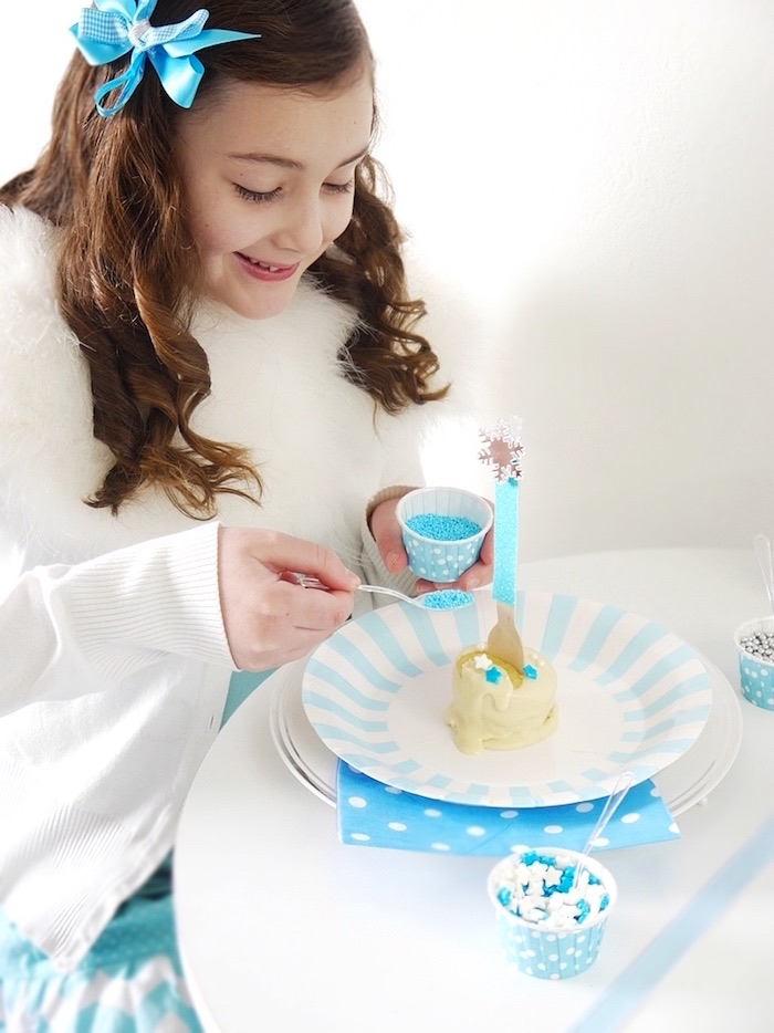 Cupcake fondue from a Shimmering Frozen Birthday Party on Kara's Party Ideas | KarasPartyIdeas.com (27)