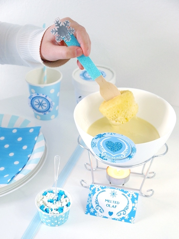Cupcake fondue from a Shimmering Frozen Birthday Party on Kara's Party Ideas | KarasPartyIdeas.com (26)