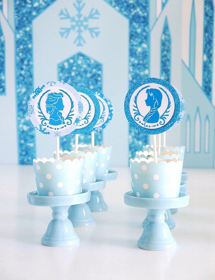 Cupcakes on pedestals from a Shimmering Frozen Birthday Party on Kara's Party Ideas | KarasPartyIdeas.com (23)