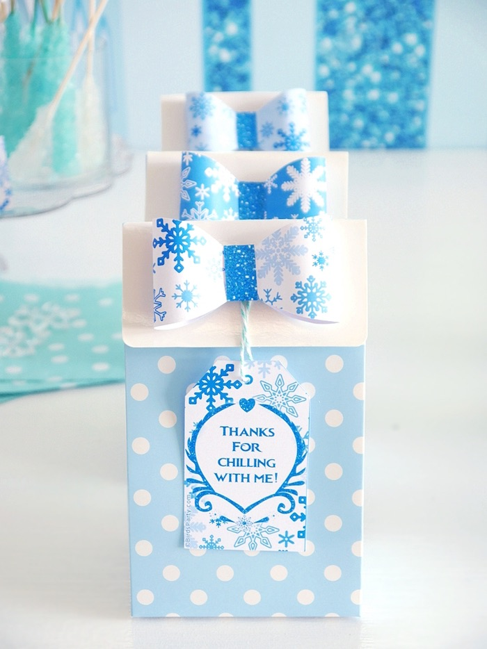 Polka dot gift bags from a Shimmering Frozen Birthday Party on Kara's Party Ideas | KarasPartyIdeas.com (18)