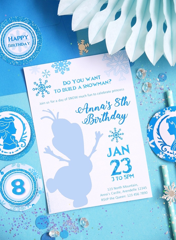 Olaf invitation from a Shimmering Frozen Birthday Party on Kara's Party Ideas | KarasPartyIdeas.com (36)