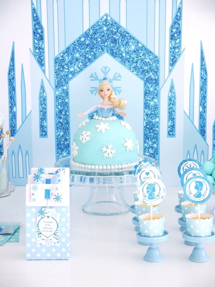 Cakescape from a Shimmering Frozen Birthday Party on Kara's Party Ideas | KarasPartyIdeas.com (16)