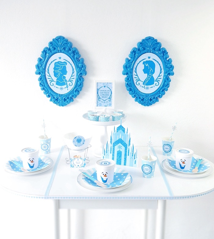 Guest table from a Shimmering Frozen Birthday Party on Kara's Party Ideas | KarasPartyIdeas.com (13)