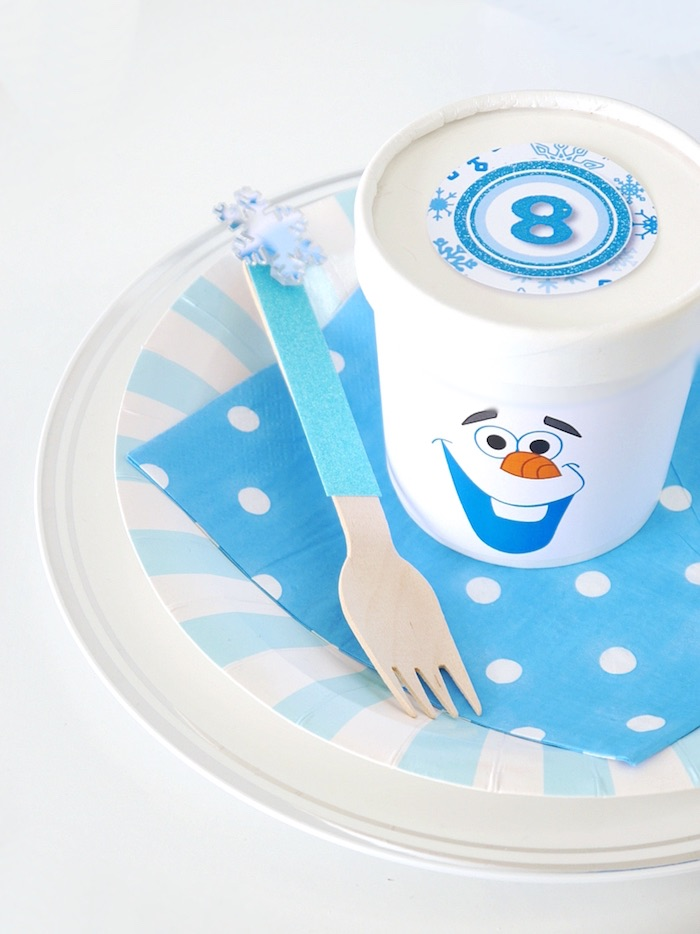 Place setting from a Shimmering Frozen Birthday Party on Kara's Party Ideas | KarasPartyIdeas.com (12)