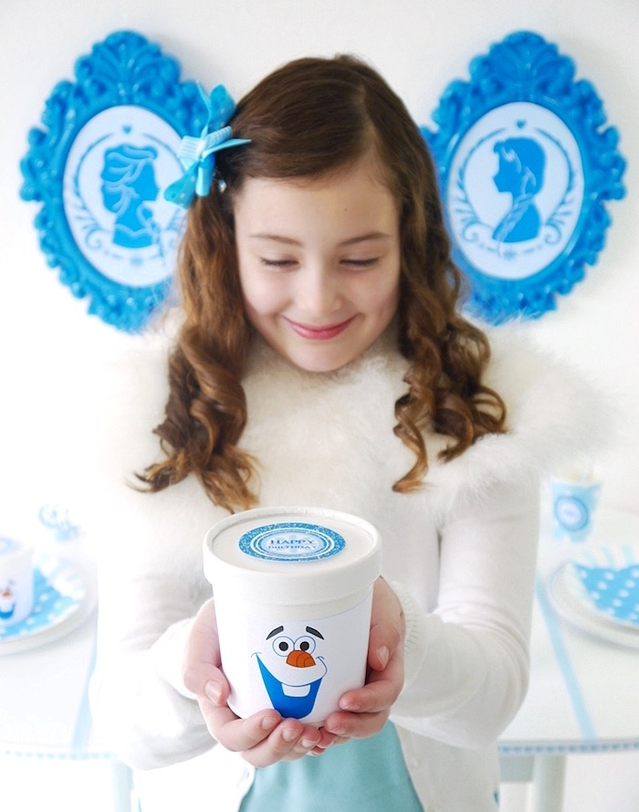 Olaf snack cups from a Shimmering Frozen Birthday Party on Kara's Party Ideas | KarasPartyIdeas.com (10)