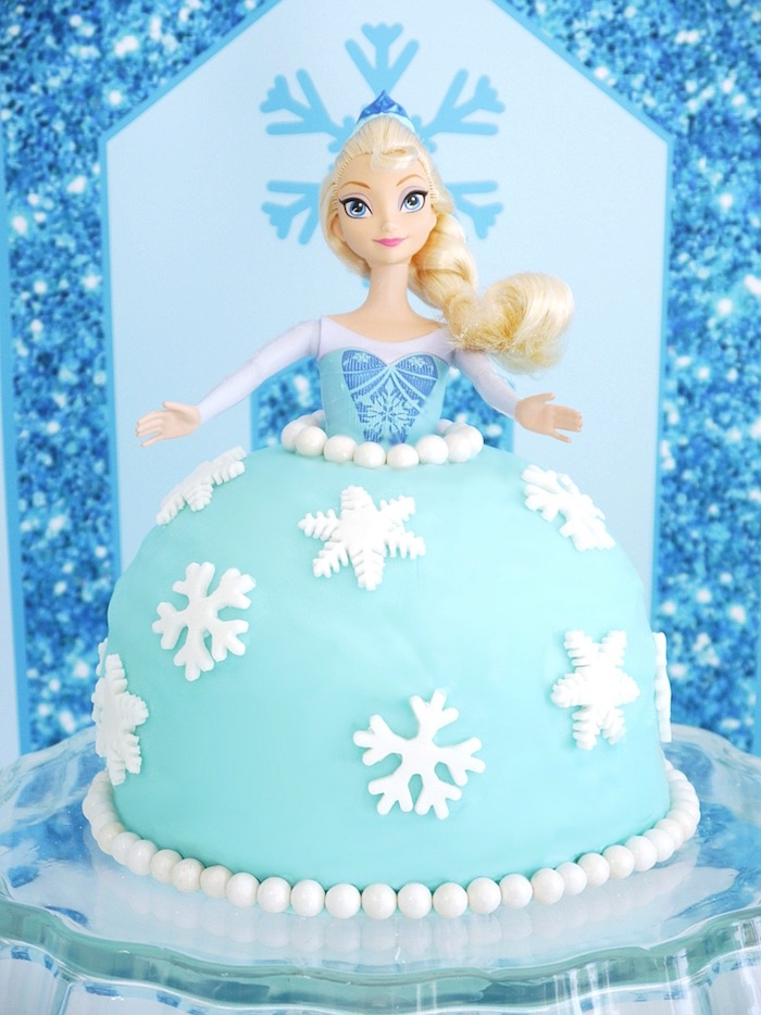 Elsa doll cake from a Shimmering Frozen Birthday Party on Kara's Party Ideas | KarasPartyIdeas.com (35)