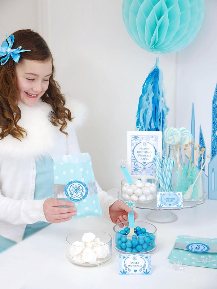 Candy buffet from a Shimmering Frozen Birthday Party on Kara's Party Ideas | KarasPartyIdeas.com (33)