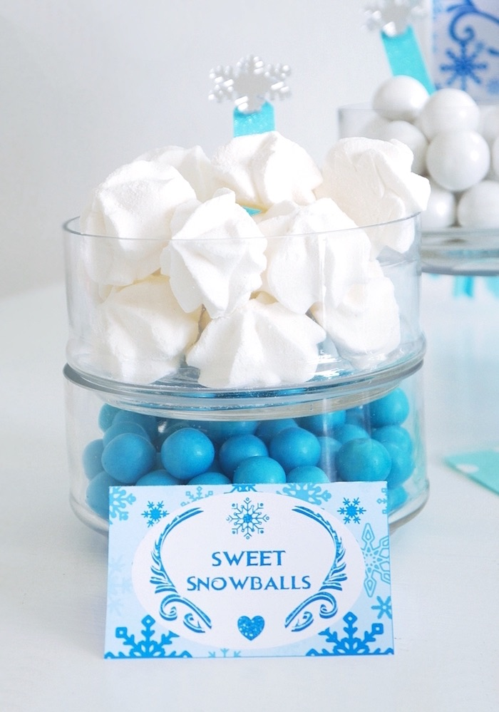 Snowball meringue kisses from a Shimmering Frozen Birthday Party on Kara's Party Ideas | KarasPartyIdeas.com (31)