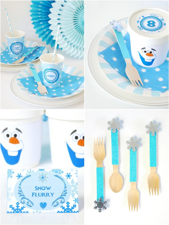 Place settings & partyware from a Shimmering Frozen Birthday Party on Kara's Party Ideas | KarasPartyIdeas.com (28)