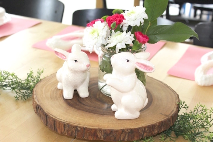 "Bunny centerpiece from a ""Somebunny is Two"" Farm Birthday Party on Kara's Party Ideas 