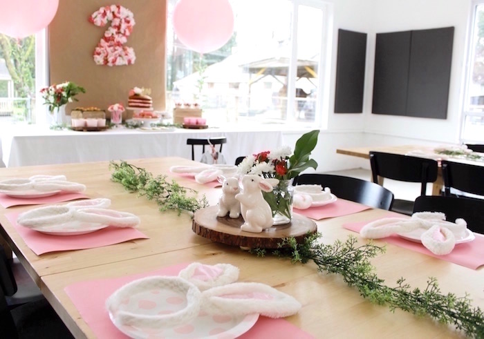 "Bunny guest table from a ""Somebunny is Two"" Farm Birthday Party on Kara's Party Ideas 