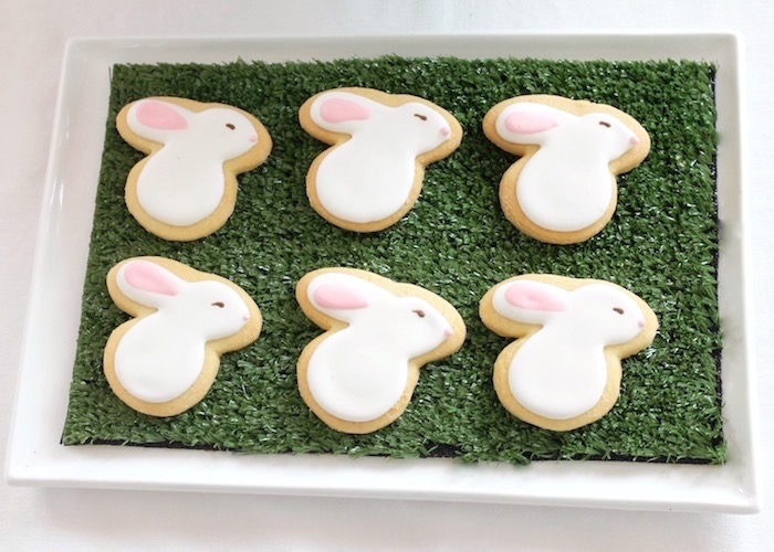 "Bunny cookies from a ""Somebunny is Two"" Farm Birthday Party on Kara's Party Ideas 