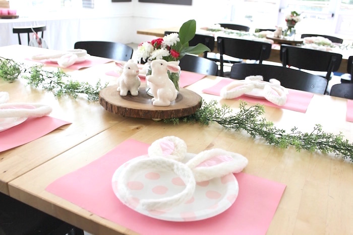 "Place setting from a ""Somebunny is Two"" Farm Birthday Party on Kara's Party Ideas 