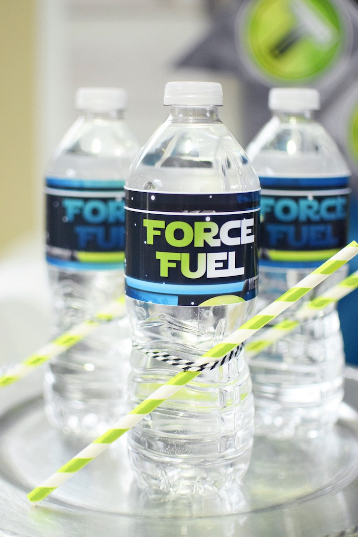 Force fuel water bottles from a Star Wars Birthday Party on Kara's Party Ideas | KarasPartyIdeas.com (7)