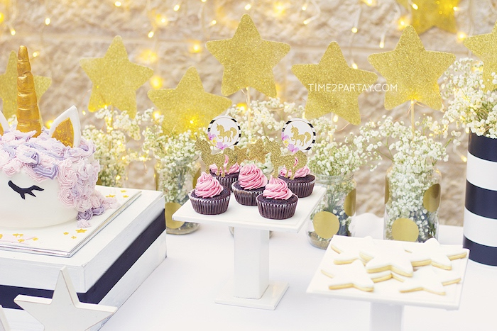 Cupcakes and cookies from a Starry Unicorn Birthday Party on Kara's Party Ideas | KarasPartyIdeas.com (22)