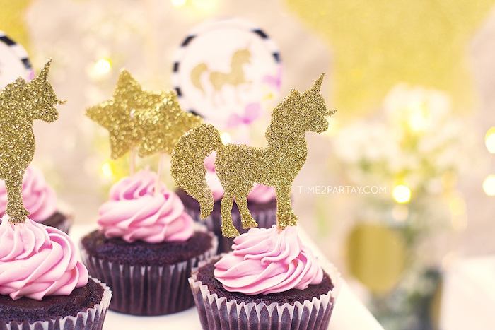 Unicorn cupcakes from a Starry Unicorn Birthday Party on Kara's Party Ideas | KarasPartyIdeas.com (21)