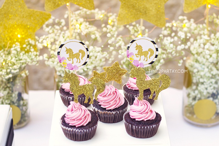 Unicorn cupcakes from a Starry Unicorn Birthday Party on Kara's Party Ideas | KarasPartyIdeas.com (20)