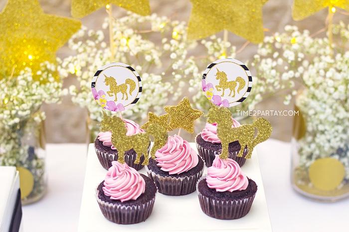 Unicorn cupcakes from a Starry Unicorn Birthday Party on Kara's Party Ideas | KarasPartyIdeas.com (20)