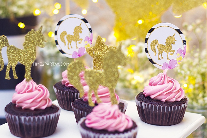 Paper unicorn cupcake toppers from a Starry Unicorn Birthday Party on Kara's Party Ideas | KarasPartyIdeas.com (19)