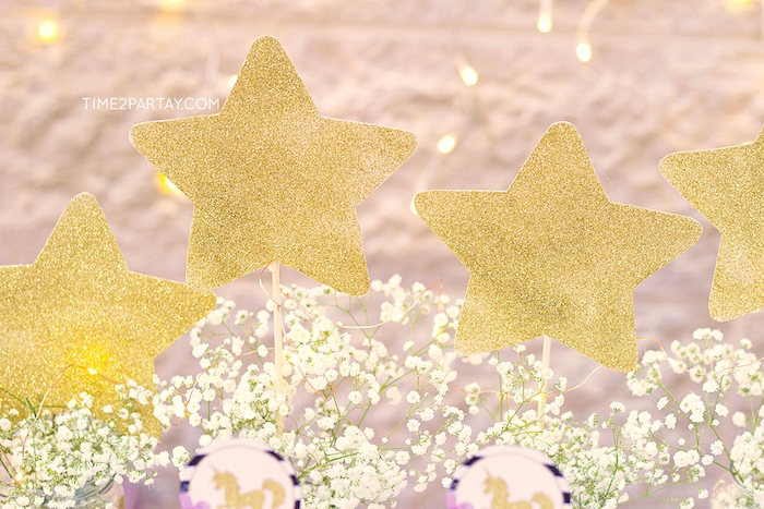 Glitter stars from a Starry Unicorn Birthday Party on Kara's Party Ideas | KarasPartyIdeas.com (17)