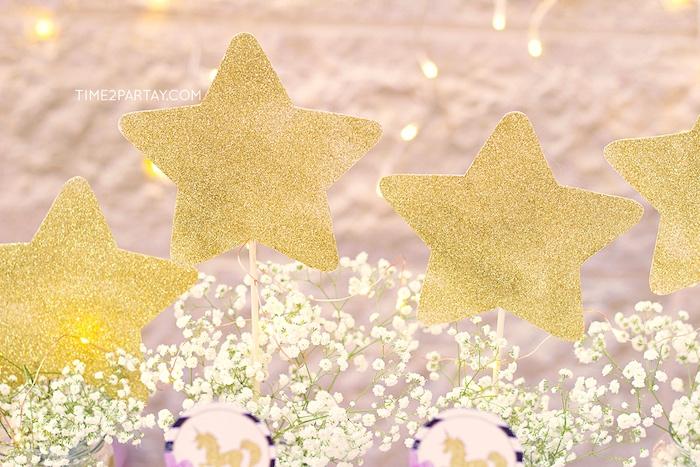 Glitter stars from a Starry Unicorn Birthday Party on Kara's Party Ideas | KarasPartyIdeas.com (17)