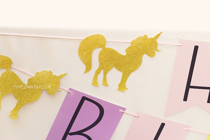 Gold unicorn silhouette garland from a Starry Unicorn Birthday Party on Kara's Party Ideas | KarasPartyIdeas.com (16)