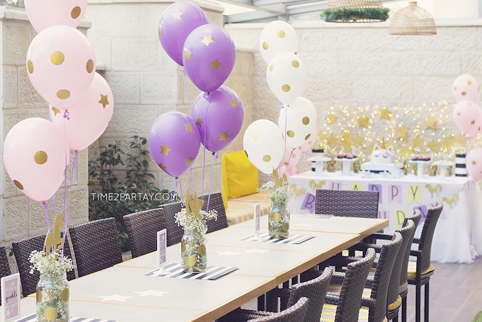 Guest table from a Starry Unicorn Birthday Party on Kara's Party Ideas | KarasPartyIdeas.com (15)