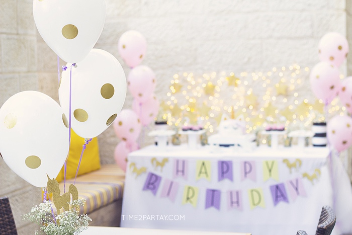 Balloon centerpiece from a Starry Unicorn Birthday Party on Kara's Party Ideas | KarasPartyIdeas.com (14)