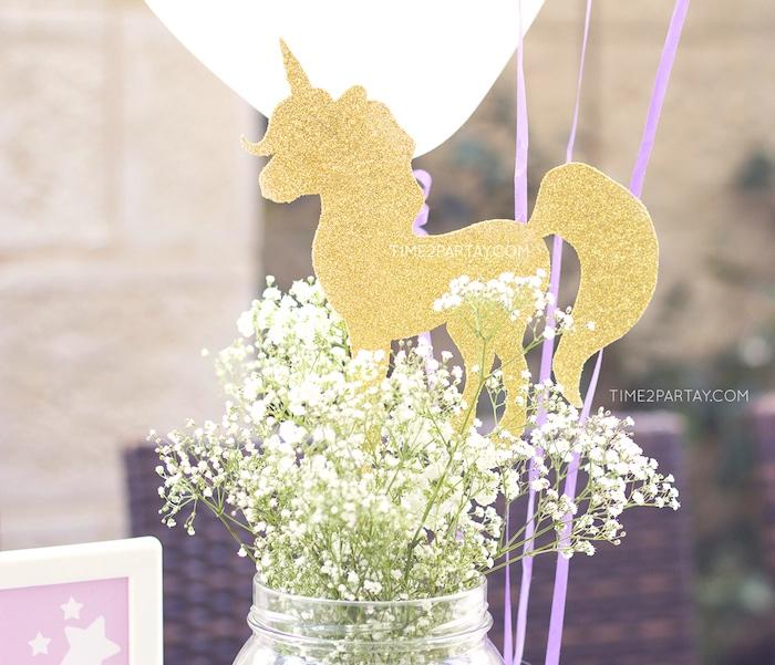 Babies breathe unicorn centerpiece from a Starry Unicorn Birthday Party on Kara's Party Ideas | KarasPartyIdeas.com (13)