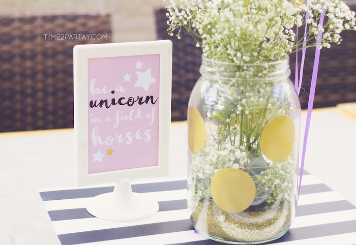 Party signage from a Starry Unicorn Birthday Party on Kara's Party Ideas | KarasPartyIdeas.com (12)