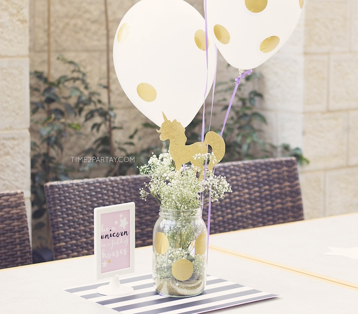 Balloon and flower centerpiece from a Starry Unicorn Birthday Party on Kara's Party Ideas | KarasPartyIdeas.com (11)