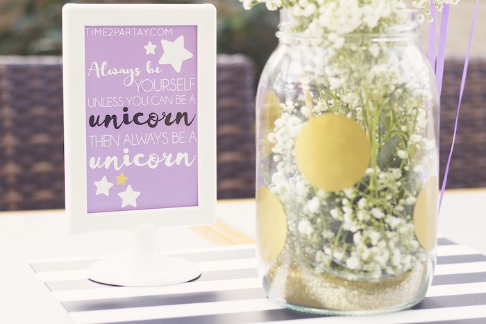 Party signage from a Starry Unicorn Birthday Party on Kara's Party Ideas | KarasPartyIdeas.com (10)
