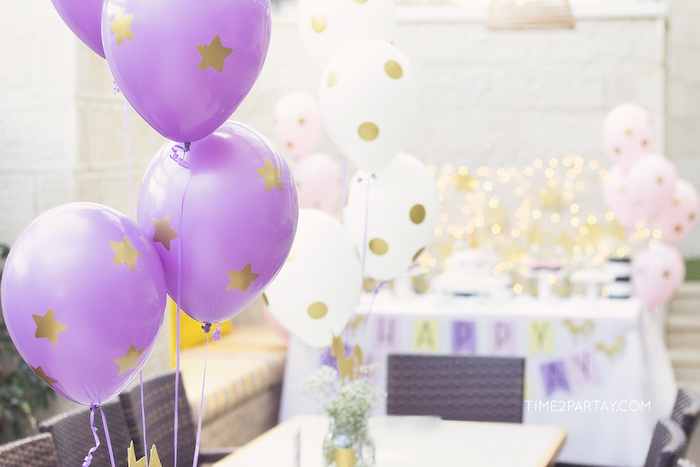 Gold polka dot + star balloons from a Starry Unicorn Birthday Party on Kara's Party Ideas | KarasPartyIdeas.com (9)