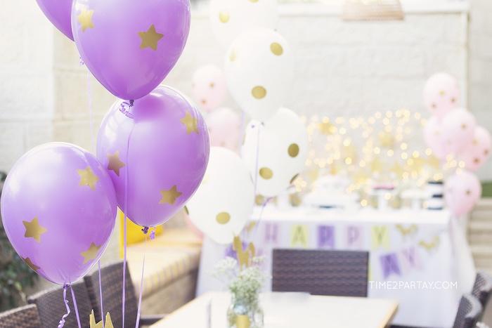 Gold polka dot + star balloons from a Starry Unicorn Birthday Party on Kara's Party Ideas | KarasPartyIdeas.com (9)