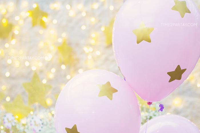 Pink star balloons from a Starry Unicorn Birthday Party on Kara's Party Ideas | KarasPartyIdeas.com (28)