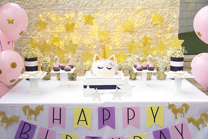 Unicorn dessert table from a Starry Unicorn Birthday Party on Kara's Party Ideas | KarasPartyIdeas.com (27)