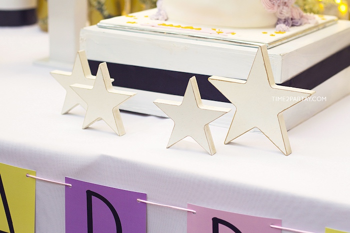 Wooden star decorations from a Starry Unicorn Birthday Party on Kara's Party Ideas | KarasPartyIdeas.com (25)