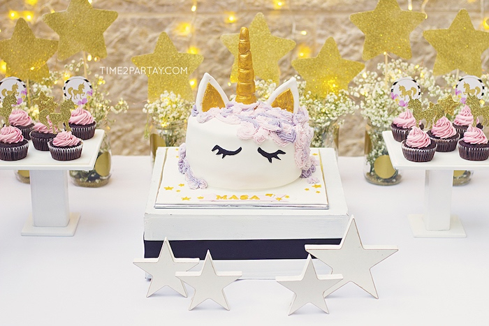 Unicorn cake from a Starry Unicorn Birthday Party on Kara's Party Ideas | KarasPartyIdeas.com (24)