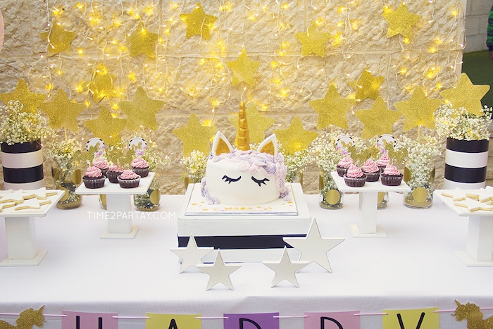 Cakescape from a Starry Unicorn Birthday Party on Kara's Party Ideas | KarasPartyIdeas.com (23)