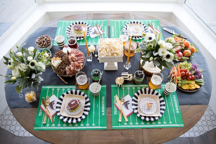 Party tabletop from a SuperBowl Sunyay Football Party on Kara's Party Ideas | KarasPartyIdeas.com (19)